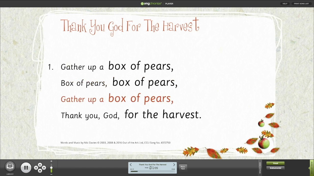 Thank you for harvest